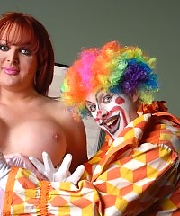 Busty tgirl sweetheart banged by a horny clown