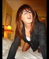 Crossdresser wearing glasses gets teased and fucked hard